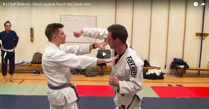 BJJ Self Defence - Fence Against Punch into Osoto Gari Throw